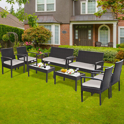 Garden Furniture - 8 Pieces Patio Rattan Table Chair Set with Cushioned Seat Garden Yard Furniture