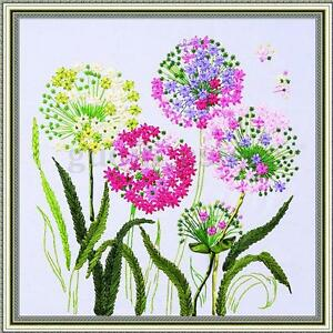 Ribbon Embroidery Wild Dandelion Taraxacum Needlework Craft Kit DIY Cross Stitch
