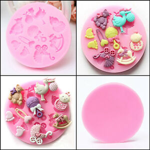 baby shower toys silicone fondant cake chocolate cookie baking mold