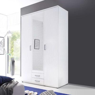 Kleiderschrank Karl Schlafzimmer 2-türiger Schrank in weiß mit Spiegel 120