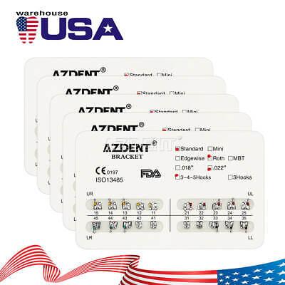 100pcs Azdent Dental Orthodontic Bracket Standard Roth 022 3-4-5 Hooks 20pcbox
