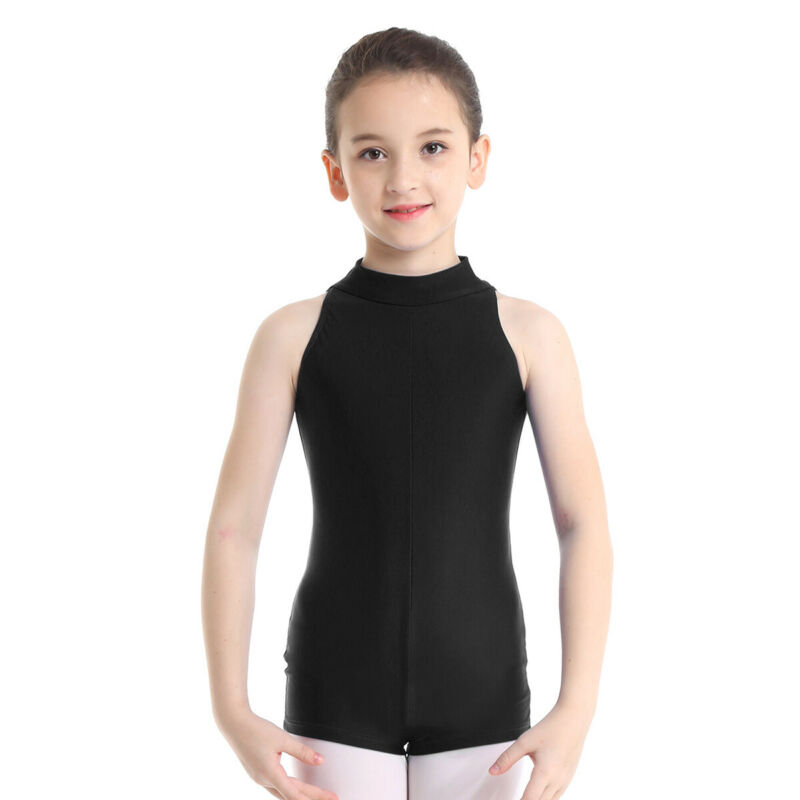 Girls Ballet Gymnastics Dance Leotards Kids Sleeveless Bodysuit Jumpsuit Costume