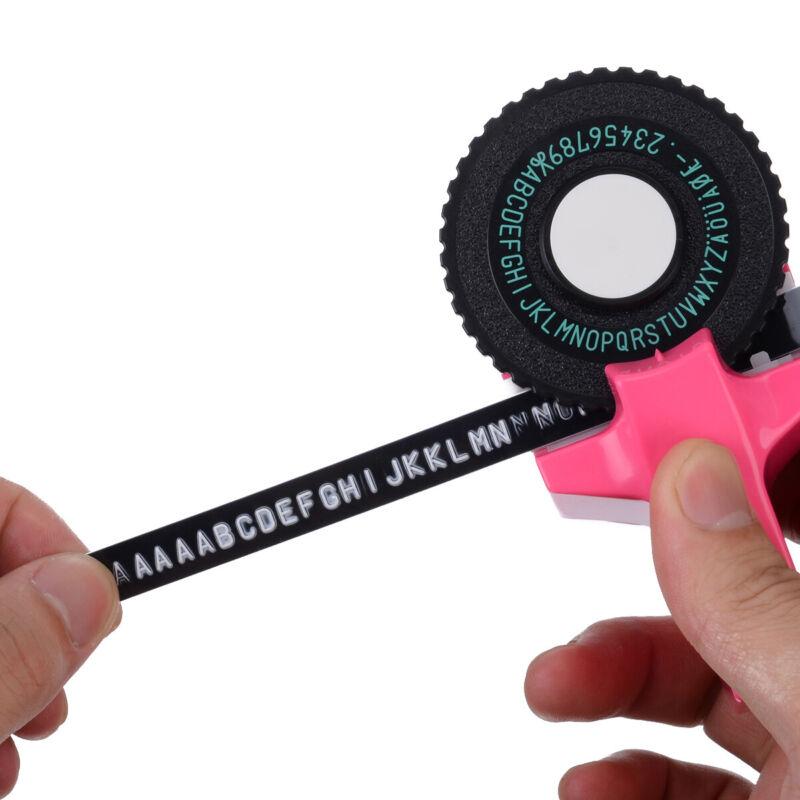 Pink Manual Embossing Label Maker Letters Numbers Printer Ta