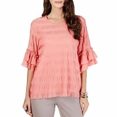 ALFANI Women's Pleat-textured Ruffle Sleeve Blouse Shirt Top -