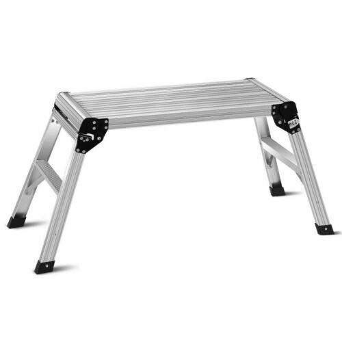 5HD EN131 Aluminum Platform Drywall Step up Folding Work Bench Stool Silver