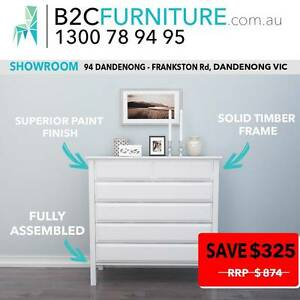 White tallboy,chest of drawers,HARDWOOD timber frame, Brown White Dandenong South Greater Dandenong Preview