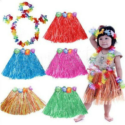 Cute Kids Hawaiian Grass Hula Lei Skirt Flower Wristband Garland Fancy Costume - Lei Costume