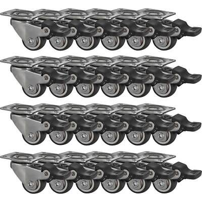 24 Pack 1 Low Profile Swivel Plate With Brake Grey Rubber Caster Wheels