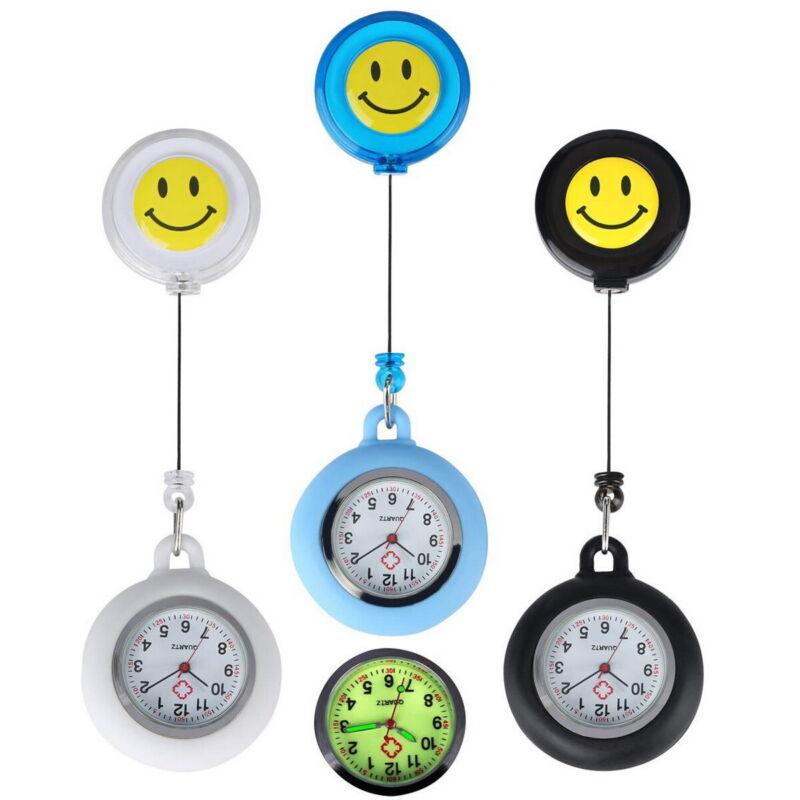 3Pcs Unisex Retractable Smile Face Clip On Pocket Fob Watches for Nurses Doctors