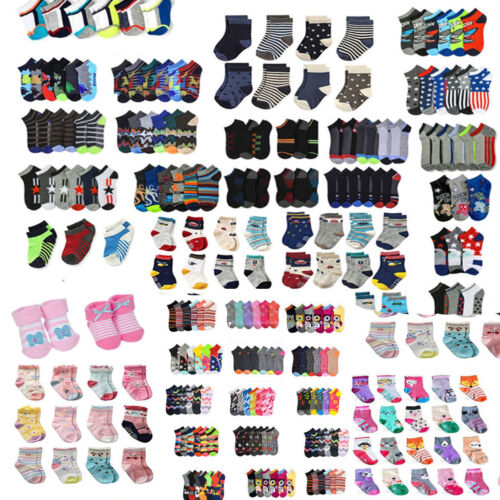 12 Pair Pack Kid Ankle Low Cut Casual Multi Colors Socks For Toddler Boys Girls