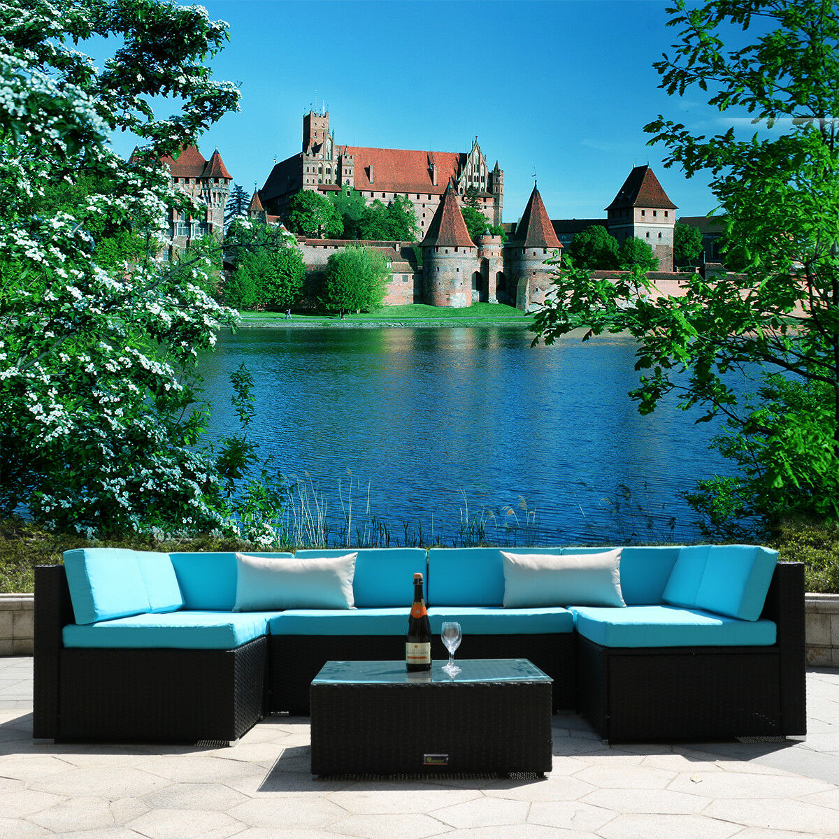 Garden Furniture - 7PC Patio Wicker Furniture Sofa Garden Rattan Set Sectional Cushion Seat Outdoor