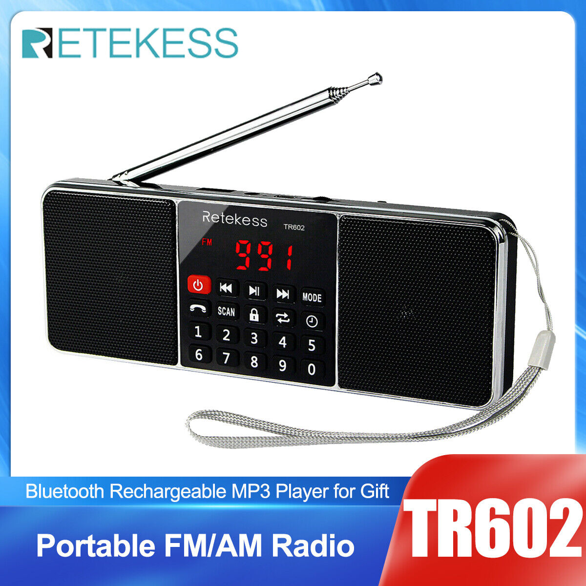 Portable FM/AM Radio Stereo Bluetooth Speaker Rechargeable M