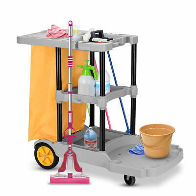Multi-purpose 3 Shelf Cleaning Cart Commercial Janitorial Office House Use