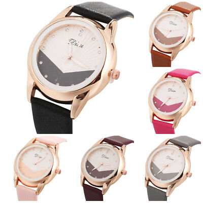 (Modern Women Girl Splice Rhinestone Case Leather Band Wrist Quartz Watch Montres)