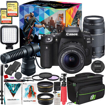 Canon EOS 90D Video Creator Kit DSLR Camera 2 Lens 18-55mm + 75-300mm Bundle