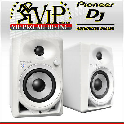 "Pioneer DJ DM-40BT-W 4"" Bluetooth Desktop Studio Monitor Active Speakers (White)"