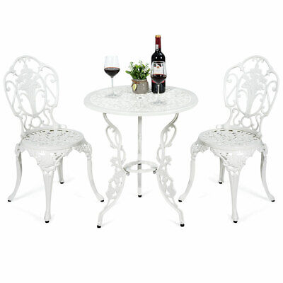 3PCS Patio Table Chairs Furniture Bistro Set Cast Aluminum Outdoor Garden White Aluminum Bistro Chairs