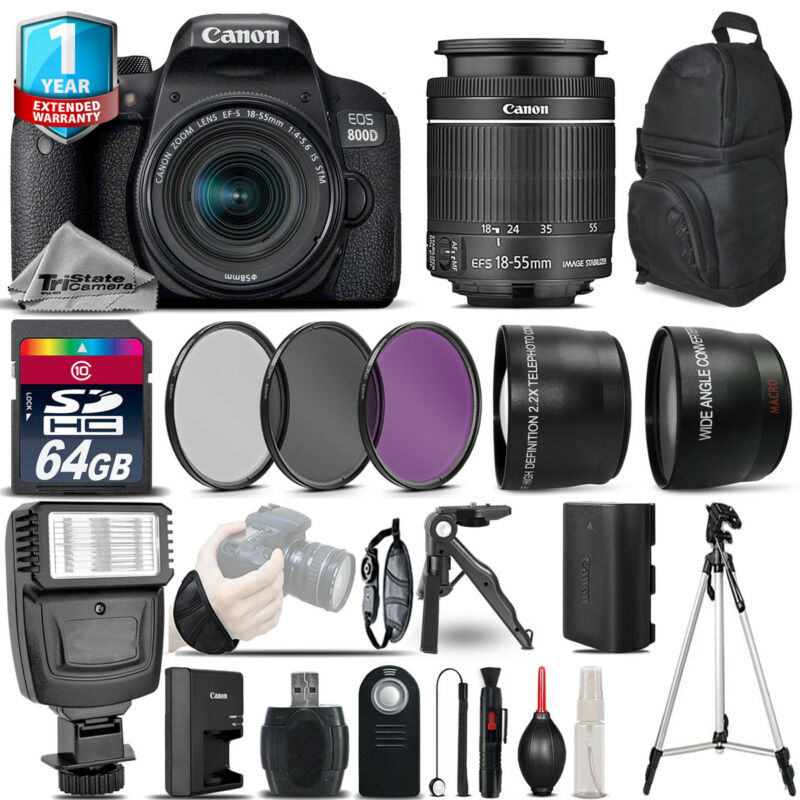 Canon Rebel 800D T7i DSLR Camera + 18-55mm IS STM +1yr Warranty -Ultimate Bundle