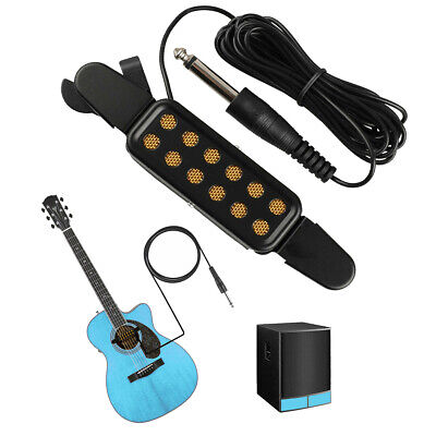 """Clip-on Acoustic Electric Guitar Pickup Audio Transducer Amplifier 12 Hole 1/4"""""""