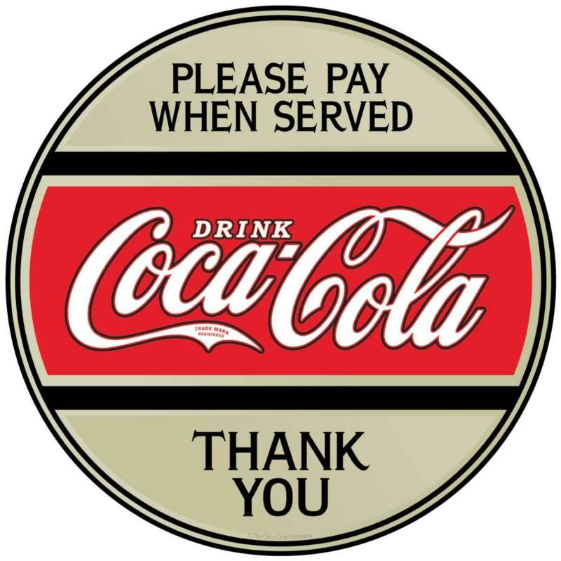 Please Pay When Served Coca-Cola Button Decal Peel & Stick Wall Graphic