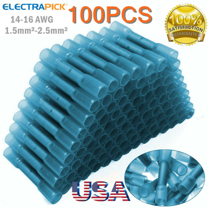 100X Heat Shrink Butt Wire Splice Seal Connectors Crimp Terminals Blue 16-14 AWG
