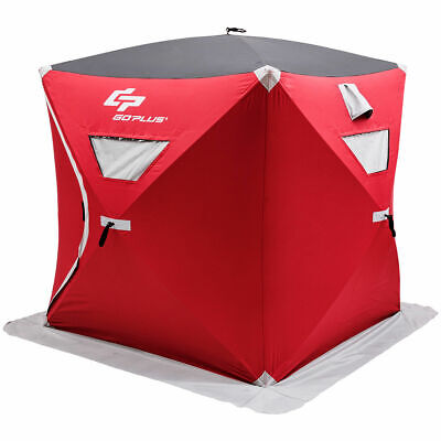 Portable Pop-up 3-person Ice Shelter Fishing Tent Shanty w/ Bag Ice Anchors Red 3 Person Ice Fishing Shelter