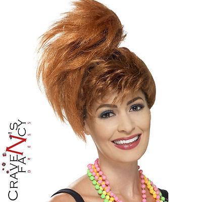 80s Wig Ginger Auburn Ladies Ponytail 1980s Fancy Dress Pebbles Accessory - Pebbles Wig