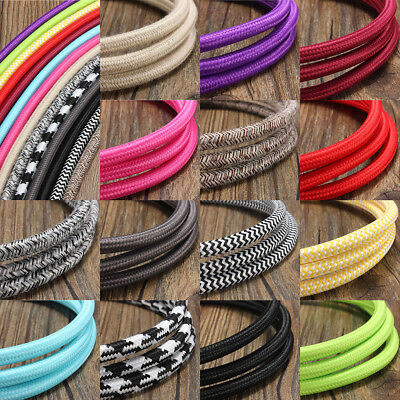 1M/3M/5M/10M Vintage Color Twist Braided 3 Core Fabric Cable Electric Light Wire