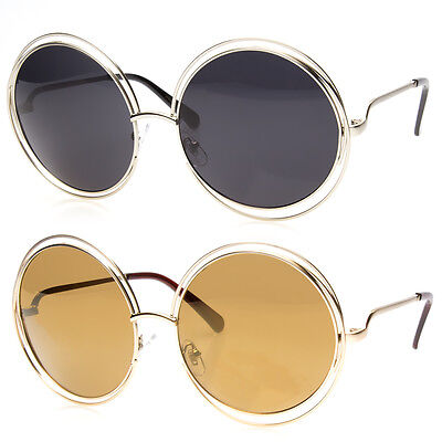 Big Round Oversized Double Wire Sunglasses Metal Frame Retro Xxl Vin Shades (Round Wire Frame Sunglasses)