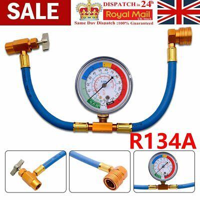 R134A Car Air Conditioning Refrigerant Recharge Measuring Kit Hose Gauge UK SALE