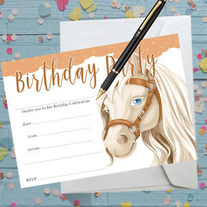 Pony Horse Invitations Birthday Party X 8 With Envelopes