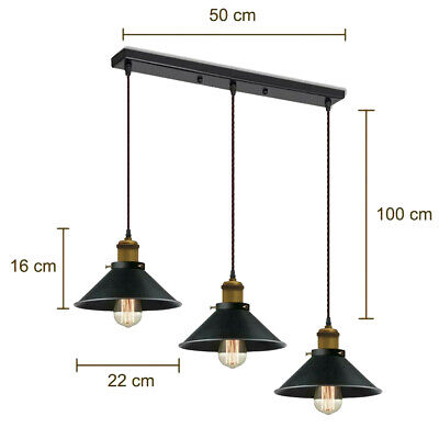 New Modern 3 Head Pendant Light Vintage Industrial Retro Ceiling Lamp Shade