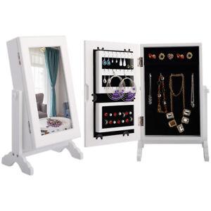 Jewelry Jewellery Cabinet Organizer Armoire Storage Box Countertop Stand&Mirror