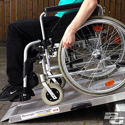 Alu Rollstuhlrampe 178cm klappbar 300Kg mobile Auffahrrampe Treppe Bus PKW