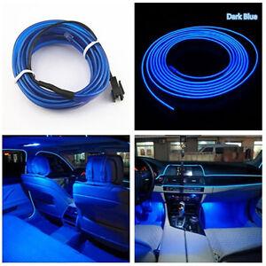 universal car auto interior led decorative wire strip atmosphere cold light blue ebay. Black Bedroom Furniture Sets. Home Design Ideas