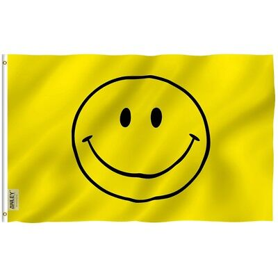 ANLEY Happy Face Flag Yellow Smile Banner Polyester 3x5 ft Flag Party Decoration - Flag Decorations