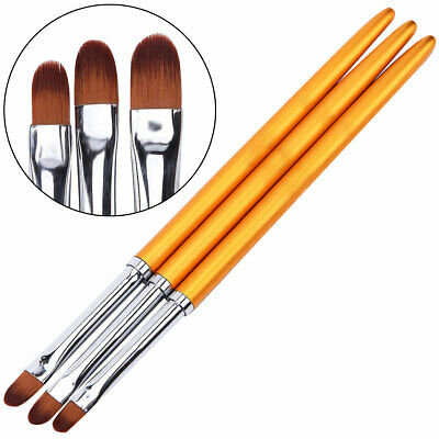3-tlg Gel Pinsel Oval Set Gold Modellage Nailart Nails Gelpinsel Fingernägel