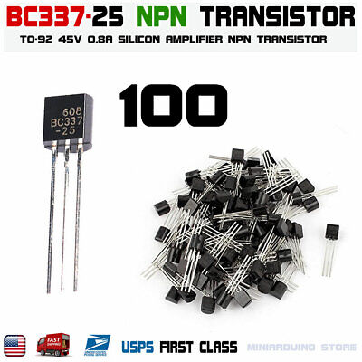 100pcs Bc337 Bc337-25 Npn Transistor To-92 Bipolar Amplifier 0.5a