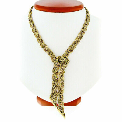 Vintage German Grosse 14K Gold Braided Beveled Cable Link Scarf Chain Necklace Vintage Scarf & Chain Necklace