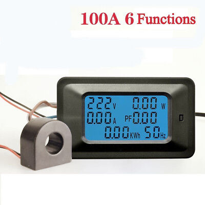 100a Ac110v-250v Digital Lcd Panel Power Watt Meter Monitor Voltmeter Ammeter