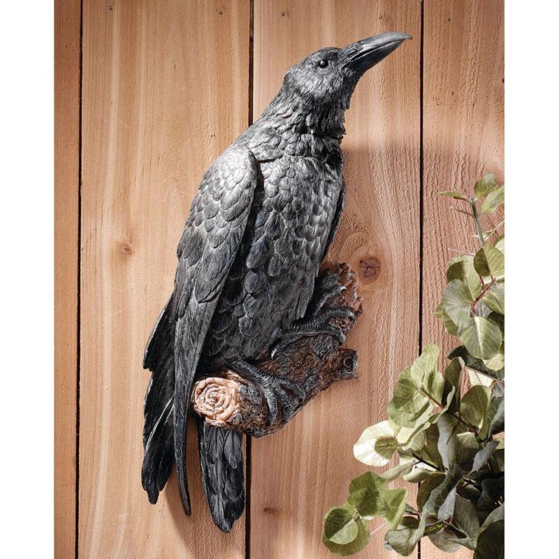 RAVENS PERCH WALL STATUE SCULPTURE BIRD OUTDOOR GARDEN YARD ART Halloween Goth