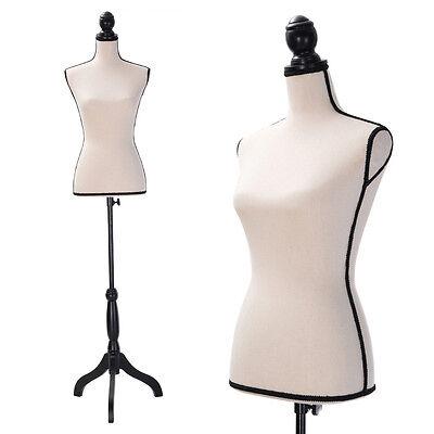 Beige Female Mannequin Torso Dress Form Clothing Display W/Black Tripod Stand