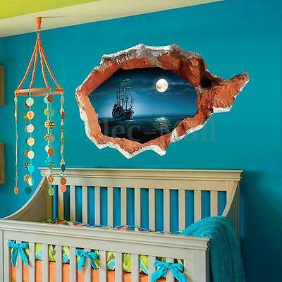 3D Ocean Seaview Removable Vinyl Decal Broken Wall Sticker Art Mural Room Decor