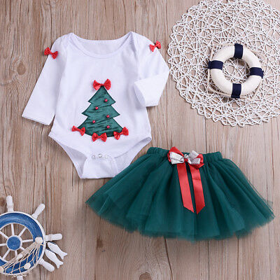 Fancy Xmas Tree Costume for Toddler Baby Girls Christmas Romper Skirt Outfit Set (Holiday Outfit For Toddler Girl)