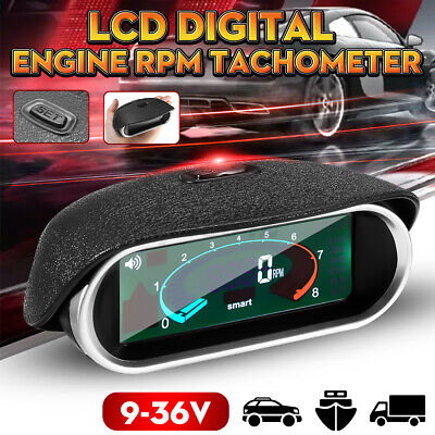 LCD Digital Engine 50~9999 RPM Tacho Tachometer Boat Car Universal 20-20khz USA