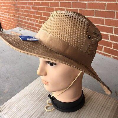 TAN BEIGE COLOR Australian Outback Safari Bucket Flap W/Mesh Boonie Hat NEW M - Australian Outback Hat