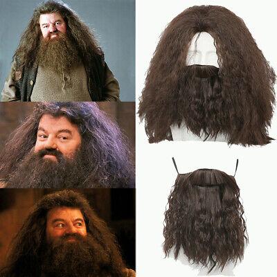 Beard Costumes (Hagrid Cosplay Wig Harry Potter Costume Prop Beard Hair Brown Long Halloween)