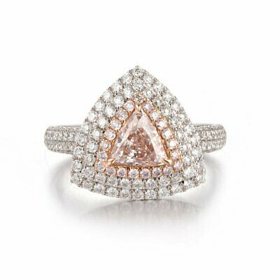 Fancy Light Pink Diamond 0.81Ct SI1 Triangle Halo Cut Natural 18K White Gold GIA