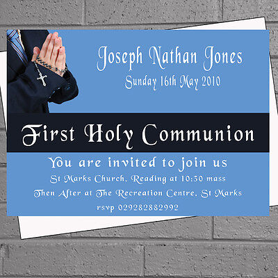 First Holy Communion Invitations Party - Boys Childrens 1st x 12 +envs H0652 - First Communion Invitations For Boys