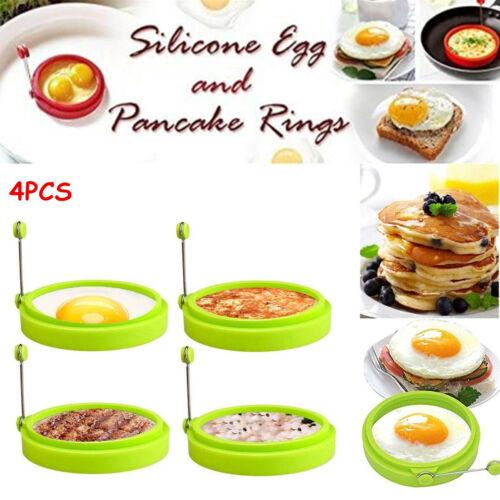 4PCS NEW Egg Fried Mold Silicone Ring Pancake Silica Gel Kitchen Cooking Tool US Egg & Pancake Rings
